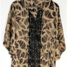 WOMEN'S SIZE LARGE BLACK & TAN KIMONO INSPIRED BLOUSE by DANA BUCHMAN V-NECK