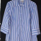 GEORGE WOMEN'S PLUS SIZE 18W-20W BLUE STRIPED SHIRT/TOP STRETCH CAREER OR CASUAL
