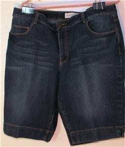 FASHION BUG WOMEN'S PLUS SIZE 18W DARK BLUE JEAN SHORTS W/EMBELLISHED POCKETS