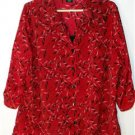GEORGE WOMEN'S PLUS SIZE 3X 22W-24W RED BLOUSE LONG WITH 3/4 SLEEVES LEAF DESIGN