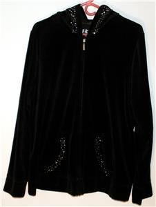 VENEZIA WOMEN'S/MISSES SIZE 18/20 SOLID BLACK VELVET HOODED JACKET SUPER SOFT!