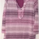 DANA BUCHMAN SIZE LARGE PINK, PURPLE & BLACK BLOUSE WITH 3/4 SLEEVES