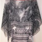 ONE WORLD LIVE & LET LIVE WOMEN'S PLUS SIZE 1X SHADES OF GRAY TANK TOP W/SHEER