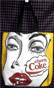 LARGE COCA-COLA TOTE BAG POP ART HUMOROUS CHERRY COKE BLACK/YELLOW/RED NWT!