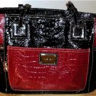 NINE WEST LARGE BLACK & RED CROC EMBOSSED TOTE-STYLE HANDBAG MSRP $85 PRE-OWNED