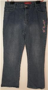 COSMOPOLITAN WOMENS SIZE 20 STRETCH BLUE JEANS EMBROIDERED FLOWERS & RHINESTONES