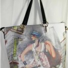 LARGE BLACK/MULTI-COLOR FASHION/ART LOVERS'  TOTE-STYLE HANDBAG MSRP $85 NWT