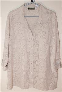 HARVE BENARD WOMENS PLUS SIZE 2X BEIGE BLOUSE ASIAN INFLUENCED DESIGN BURN-OUT