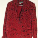 RED ROSES 100% SILK BLOUSE SIZE 6 THE WORKS @ SAKS FIFTH AVE.BEAUTIFUL BLOUSE!!!