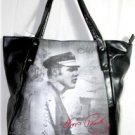ELVIS PRESLEY LARGE BLACK HANDBAG/TOTE BAG BLACK & WHITE PHOTO IMAGE  NWT!
