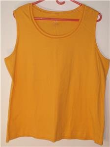WHITE STAG WOMEN'S/MISSES SIZE XXL/2XG (20) GOLDEN YELLOW COTTON TANK TOP NWOT