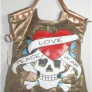 LARGE COPPER SKULL & CROSSBONE TATTOO 3-IN-1 HANDBAG, CROSS-BODY, SHOULDER NWT