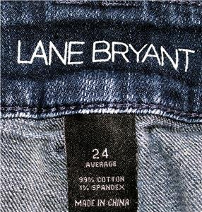 LANE BRYANT BLUE JEANS DARK WASH WOMEN SIZE 24 AVERAGE 99% COTTON - 1% SPANDEX
