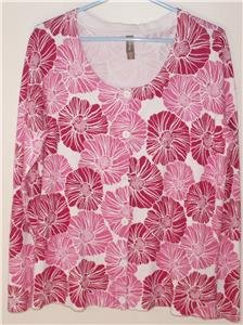 WHITE STAG WOMEN/MISSES SIZE X-LARGE (16-18) PINK & FUSHIA FLORAL LIGHT SWEATER