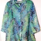 ALLISON DALEY II SHEER BLOUSE PLUS SIZE 16W MULTI-COLOR BLUES & GREENS A BEAUTY!
