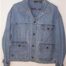 BLUE DENIM JACKET MISSES SIZE MEDIUM MED WASH LONG SLEEVES 100% COTTON LIZ WEAR