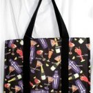 X-LARGE BLACK MARTINI/MARGARITA COCKTAIL TOTE BAG/OVERNIGHT BAG/WEEKENDER NWT