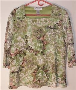 DRESSBARN WOMENS PLUS SIZE 1X TOP FLORAL LACE OUTER, OPAQUE LIME GREEN LINING
