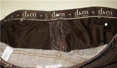 "DENIM & CO. BROWN JEANS SIZE 24WP 29"" INSEAM CLASSIC 5-POCKET STYLE STRETCH"