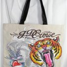 LARGE TAN/BEIGE TIGER ROCKIN' TATTOO DESIGN TOTE BAG/SHOPPING TOTE JD CROWE NWT