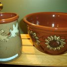 Eldreth Pottery Redware leaf crock