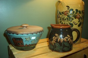 Eldreth Pottery Redware small nesting bowl with salt house barn and pumpkins design