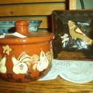 "Eldreth Pottery Redware 5"" square plate with bird design"
