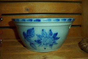 Eldreth Pottery salt-glazed small nesting bowl with sunflower design