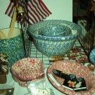 "Henn Workshops blue Sponged 8"" mixing bowl"