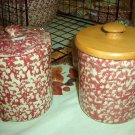 Henn Workshops cranberry sponged 1 quart crock