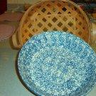 Henn Workshops blue sponged family pasta / harvest bowl with open weave fruitwood basket set