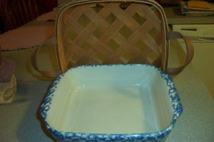 Henn Workshops blue Sponged 8 X 8 baking pan / casserole