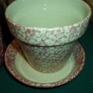 "Henn Workshops rose sponged 5 1/2"" flower pot w lil pie for plate"