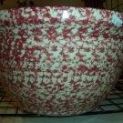 "Gerald E Henn Workshops 12"" Cranberry Sponged mixing bowl hostess"