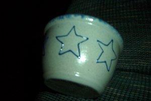 Eldreth Pottery salt glazed dip dish with a star design on it