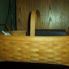 Henn Workshops shaker herb basket 1 stationary handle & 2 leather loop handles in fruitwood