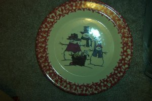 Henn Workshops cranberry sponged Shivers family with basket dinner plate