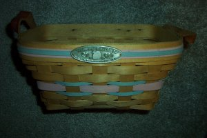 Henn Workshops 1995 welcome to the world little one basket  with leather loop handles