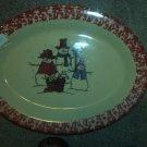 "Gerald E Henn Workshops shivers snowman family cranberry sponged 13"" oval platter"