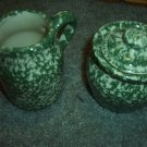 Henn Workshops green sponged sugar and creamer set