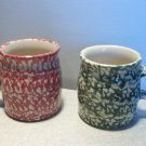 Henn Workshops cranberry/rose sponged classic mugs set of 2