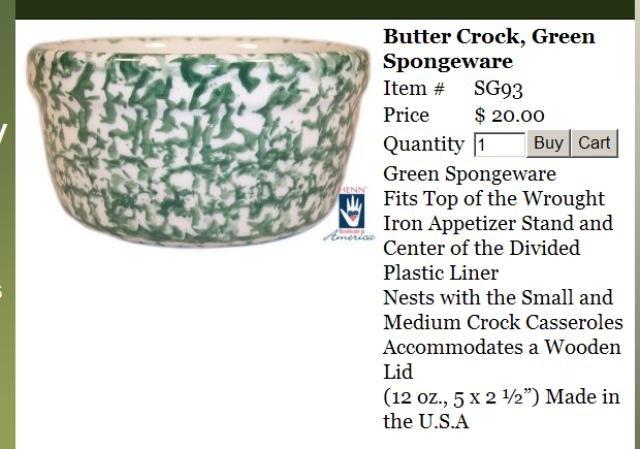 Henn Workshops green sponged butter crock