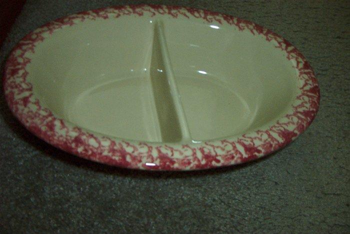 "Gerald E Henn Workshops cranberry sponged 12"" oval divided bowl"