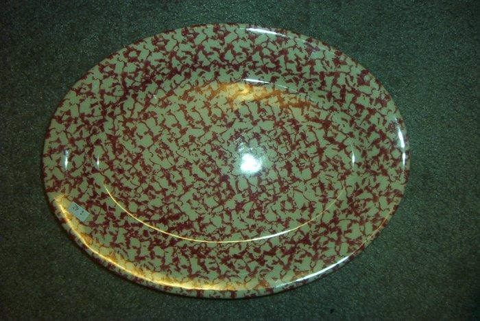 """Gerald E Henn Workshops rose sponged 13"""" oval platter"""