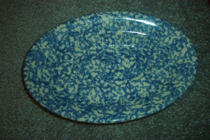 Gerald E Henn Workshops blue sponged petite oval platter