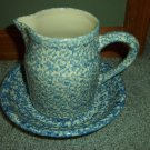 Henn Workshops blue sponged museum bowl and 1 quart pitcher set of 2