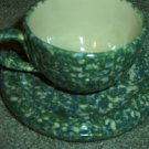 Henn Workshops double blue/green Sponged tea cup and saucer set of 2