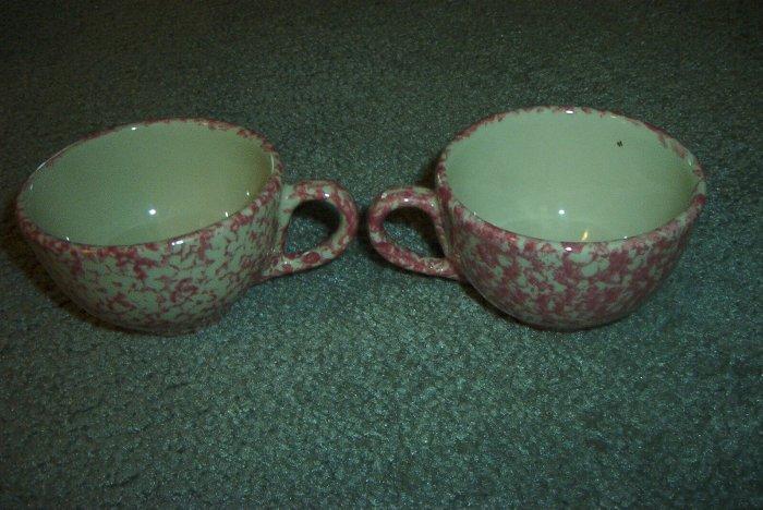 Henn Workshops rose Sponged tea cups & saucers set of 4
