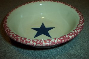 Henn Workshops old glory cranberry rimmed  bowl