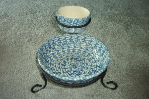 Henn Workshops blue sponged butter crock & medium pasta with wrought iron two-tired appetizer stand